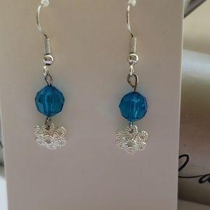 Crystal Blue/ Silver Flower Earring's
